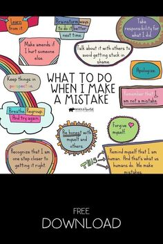 This free Social Emotional Learning (SEL) Growth Mindset Poster reminds us of pro-active steps to take when we make a mistake. Use this in your counseling office, classroom, or at home. Growth Mindset Posters, Growth Mindset Activities, Growth Mindset Lessons, Growth Mindset For Kids, Growth Mindset Classroom, Social Skills Activities, Teaching Social Skills, Art Therapy Activities, School Social Work