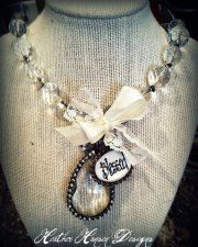 One of My Favorties Crystal Chain large clasp closure with Rhinesone chandelier and blessed charm <3