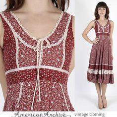Vintage 70s Gunne Sax Dress Boho Burgundy Calico Floral Lace Hippie Prairie Mini #GunneSax #Mini #Casual