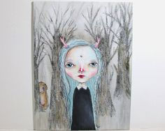 folk art Original girl painting whimsical painting mixed media art girl painting 18x24 cms canvas board - Forest friends