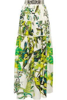 Roberto Cavalli Paneled printed silk-satin maxi skirt | NET-A-PORTER