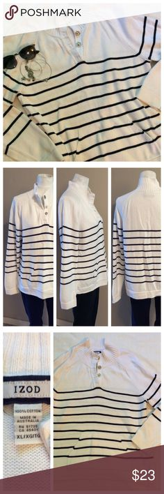 "IZOD Striped Sweater White sweater with dark navy (almost black) nautical like stripes; front kangaroo pocket and long sleeves. Covered oversized snaps allow easy on/off. IZOD size XL; Measurements when laying flat: 21.5"" chest and 26"" length. 100% cotton Izod Tops"
