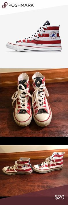 Converse High Tops American Flag Only worn once American flag converse Converse Shoes Sneakers