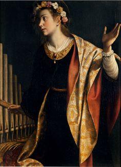 ST. CECILIA / GENTILESHI Orazio Lomi - Italian (Pisa 1563–1639 London) - St. Cecilia patrones of music