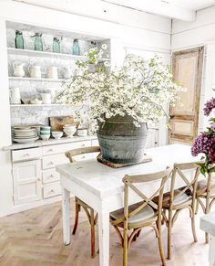 Dreamy Whites Lifestyle Treatment Projects Care Design home decor Modern Farmhouse Decor, Farmhouse Kitchen Decor, Home Decor Kitchen, Rustic Decor, French Farmhouse, Farmhouse Chic, Sweet Home, French Country Living Room, Dining Room Design