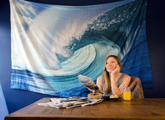 Teahupo'o Large Scenic Wave Tapestry. Our high-resolution photo printed tapestries quickly sweep you away to your favorite far-flung destinations. Awe-inspiring and oversized, these tapestries give you a breathtaking view where you otherwise may not have one. 100% cotton. Dry clean only. Approximately 90 x 58 inches (7.5 x 4.8 feet) with 2-inch rod pockets top and bottom for use with curtain rods if desired.