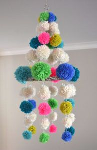 DIY Crafts with Pom Poms - Pom Pom Chandelier - Fun Yarn Pom Pom Crafts Ideas. Garlands, Rug and Hat Tutorials, Easy Pom Pom Projects for Your Room Decor and Gifts http://diyprojectsforteens.com/diy-crafts-pom-poms