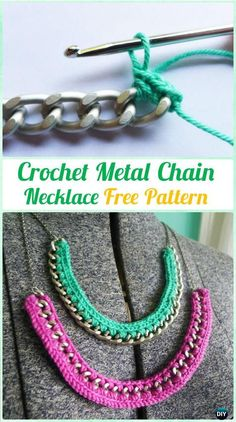 CrochetMetalChain Necklace FreePattern  - #Crochet; #Jewelry Necklace Free Patterns