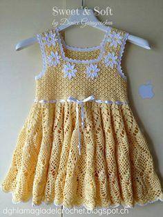 varia ropa a crochet Crochet Dress Girl, Crochet Girls, Crochet Baby Clothes, Crochet For Kids, Knit Crochet, Crochet Toddler, Baby Kind, Little Girl Dresses, Beautiful Crochet
