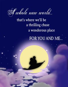 This was a happily ever after for Aladdin and Jasmine. They have been given the opportunity to explore a whole new world together. They have no one getting in the way of their love anymore. This is a very magical moment in the Disney movie.