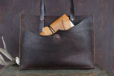 """Leather Tote: Rustic Hand Stitched """"The Grand"""" Tote with Copper Rivets"""