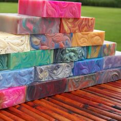 Colorful bars of soap #soapmaking #Colorfulsoap