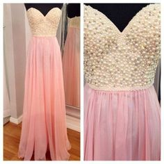 Sparkly Prom Dress, amazing pearls pink chiffon evening gowns prom dresses a line sweetheart long prom dress cheap new arrival graduation dress wedding party dresses Ball Gown Prom Prom Dresses 2016, Pink Prom Dresses, Prom Dresses Online, Cheap Prom Dresses, Wedding Party Dresses, Pretty Dresses, Beautiful Dresses, Evening Dresses, Formal Dresses