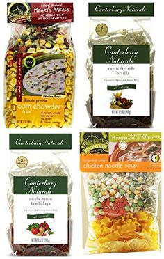 Soup Lovers Bundle: (1) Frontier Soups Chicken Noodle, (1) Frontier Soups Corn Chowder, (1) Canterbury Naturals Tortilla and (1) Canterbury Naturals Jambalaya, 4.5-9 Oz Each (4 Bags Total)