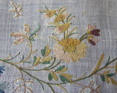 Maria Niforos - Fine Antique Lace, Linens & Textiles : Early Items # Circa Fine Muslin Panel w/ Tambour Work Chain Stitch Embroidery, Tambour Embroidery, Couture Embroidery, Vintage Embroidery, Embroidery Applique, Vintage Sewing, Embroidery Stitches, Embroidery Patterns, Flower Embroidery