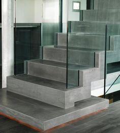 Glass and amazing concrete texture #minimalist #stairs \ Casa G by: Gudmundur Jonsson Arkitektkontor \ Iceland