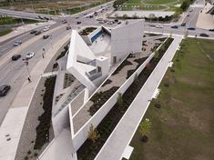 Studio Libeskind designed Canada's first National Monument dedicated to the Holocaust in Ottawa: a cast-in-place concrete structure conceived as an experiential symbolic environment. Triangular Architecture, Chinese Architecture, Futuristic Architecture, Architecture Details, Public Architecture, Futuristic City, Deconstructivism, Concrete Design, Concrete Walls