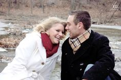 winter engagement shoot near river