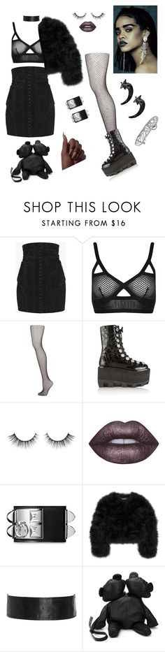 """Gotham City!💀"" by styledbystaes ❤ liked on Polyvore featuring Balmain, Topshop, Alexander Wang, Lime Crime, Hermès, Diane Von Furstenberg, Area Di Barbara Bologna and Givenchy"