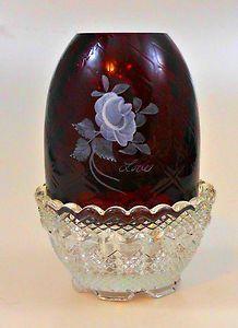 Fenton Art Glass Diamond Optic Ruby Red Love Rose Fairy Light Lamp