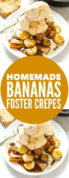 Homemade Bananas Foster Crepes - Layers of Happiness Made the filling and added heavy cream Crepe Recipes, Waffle Recipes, Brunch Recipes, Pancake Recipes, Köstliche Desserts, Delicious Desserts, Dessert Recipes, Yummy Food, Plated Desserts