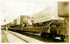 Circus & Sideshow Wagons loaded onto Rail Road Flatcars