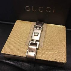 8b11a426280 Gucci Wallet Jackie line Brown Authentic carved seal Silver Metal Box fine  jmp  fashion