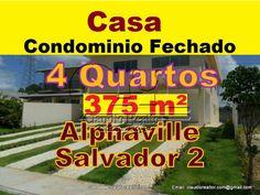 Casa 4 suítes, Alphaville Salvador 2, 3ª Etapa, 375 m²  Casa próxima ao clube, localizada no setor 3 de Alphaville Salvador 2, com 2 pisos, 3 salas, 4 suítes, varanda nos quartos, piscina com espaço gourmet, dependência completa.