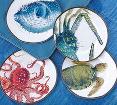 Playa Sea Life Melamine Salad Plates, Mixed Set of 4