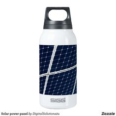 Solar power panel thermos water bottle