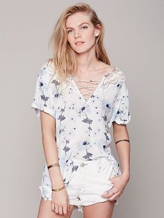 I want this in black!!   Free People Short Sleeve Printed Open Back Tunic, $128.00