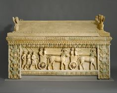 Limestone sarcophagus: the Amathus sarcophagus - a procession of chariots escorted by attendants on horseback and by foot soldiers - Cyprus - middle 5th century BC - The Metropolitan Museum of Art