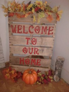 Pallet decor, barn red paint and stencils, I plan on changing it for every season and holidays.