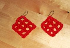 Red Crocheted  Potholder Earrings Handmade Fiber by SKDesigning, $3.50