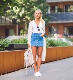 denim-skirt-button-street-style-tricot... - Total Street Style Looks And Fashion Outfit Ideas
