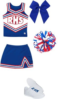 """""""cheer leading outfit"""" by fashionistamiley ❤ liked on Polyvore.    So cute but Black & Gold for my future squad!"""
