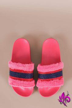 d8b702c80951a Bamboo Open Toe Rhinestone Stripe Faux Fur Slide Sandal