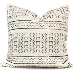 Decorative Pillow Cover White and Black Geometric Mud Cloth, Hand made fabric from Mali 20x20 or lumbar pillow