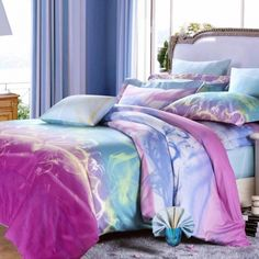 Deep eggplant purple blue and hot pink colorful polka dots - Hot pink and blue bedding ...