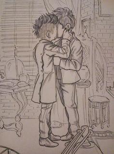 Kiss (based on the mid season finale of season 3) … Drawn by Mavitomo ... alexander 'alec' lightwood, magnus bane, malec, shadowhunters, the mortal instruments, #saveshadowhunters