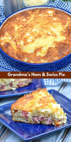 Grandma's ham & Swiss pie was made for the supper table. Featuring a savory ham, onion, & Swiss cheese filling- it's a forkful of Heaven in every bite. Great thing it's easy too, you might need to make more than one! Bisquick Recipes, Quiche Recipes, Brunch Recipes, Cheese Recipes, Pork Recipes, Gourmet Recipes, Cooking Recipes, Recipies, Breakfast Dishes