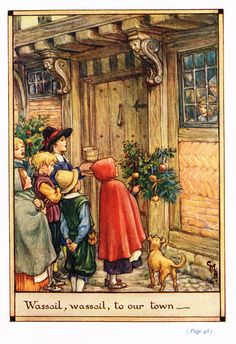 "Cicely Mary Barker Print - """"WASSAIL, WASSAIL TO OUR TOWN"""" - Offset Lithograph - c1930"