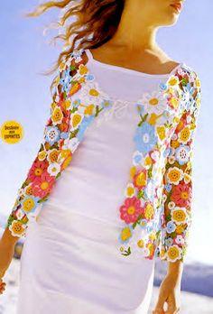 Ivelise Feito à Mão: Casaquinho em Crochê Irlandês Flores e Folhas