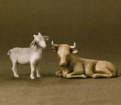 #WillowTree Ox and Goat 2-piece set #Nativity #Christmas. Adorn your home with the quiet beauty of the Nativity this Christmas season. These lowly animals, chosen to be part of the most important night in history, perfectly complement the Willow Tree® six-piece Nativity set.  Offering warmth and protection. @demdaco