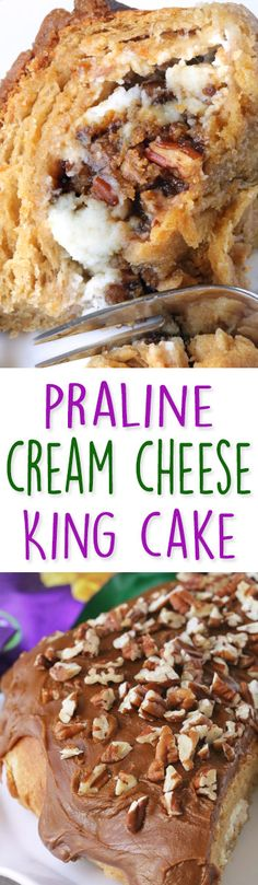 King Cake with Pecan Praline Cream Cheese Filling and Praline Frosting whole grain option} (Cream Cheese Muffins) Cream Cheese Desserts, Cream Cheese Filling, Beignets, Easy Desserts, Delicious Desserts, Cake Recipes, Dessert Recipes, Donut Recipes, Dessert Ideas