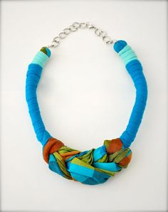Blue scarf necklace - statement necklace - green blue upcycled fabric jewelry