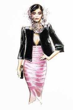 "Saatchi Online Artist: Jessica Rae Sommer; Colored Pencils, 2012, Drawing ""Fashion Illustration Armani 2"""
