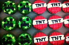 MINECRAFT cupcakes. Sprankle's markets. $1.00 each. Creepers or TNT