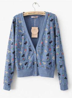 Blue Cartoon V Neck Long Sleeve Sweatshirt$38.00