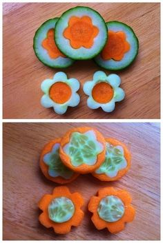 Carrots & Cucumber using small cookie cutters - picture onlySwapped middles; Carrots & Cucumber using small cookie cutters - picture only Muffin Tin Recipes, Raw Food Recipes, Salad Recipes, Cute Food, Good Food, Funny Food, Food Garnishes, Garnishing, Fruit And Vegetable Carving